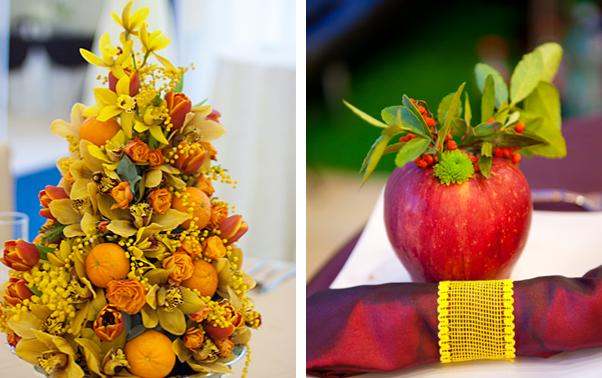 Decoratiuni de nunta cu portocale si mere rosii