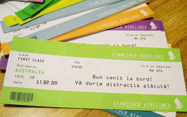 Invitatii de nunta bilet de avion Lady Cozac Bucuresti