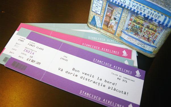 Invitatii de nunta tip bilet de avion Lady Cozac Bucuresti