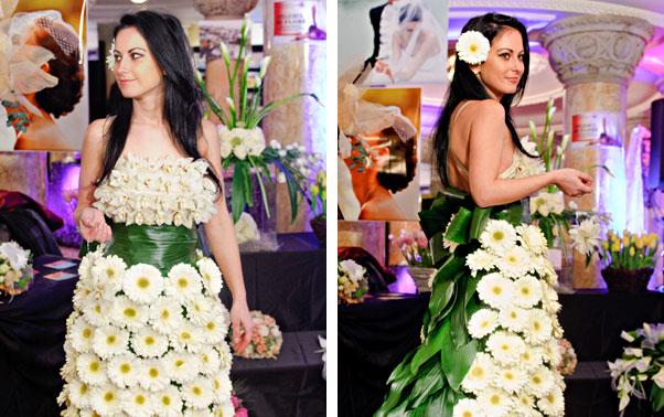 Rochie de mireasa realizata din flori Zile de nunta 2012